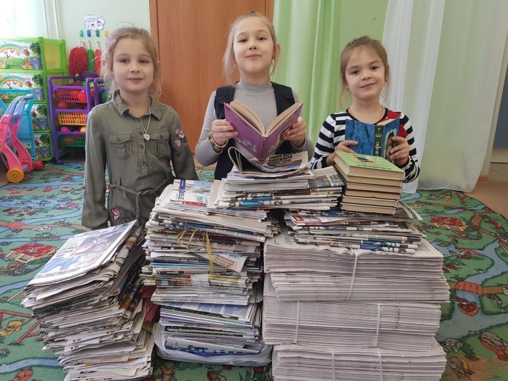 Участники акции Бумажный Бум в школе №1552Участники акции Бумажный Бум в школе №1552